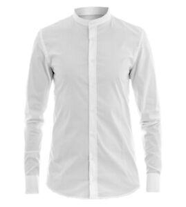 Camicia-Uomo-Collo-Coreano-Tinta-Unita-Bianca-Slim-Cotone-Akiro-Casual-GIOSAL