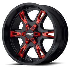 20 Inch Black Red Wheels Rims Jeep Wrangler JK Moto Metal MO969 5x127 SET OF 5