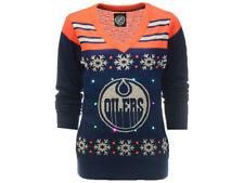 c65809b949e Edmonton Oilers Klew NHL Women's Light Up V-Neck Ugly Sweater (Large)