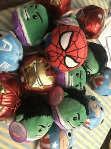 HULK-CAPTAIN-AMERICA-IRON-MAN-SPIDERMAN-Marvel-Fluffball-Plush-Hallmark-ornament