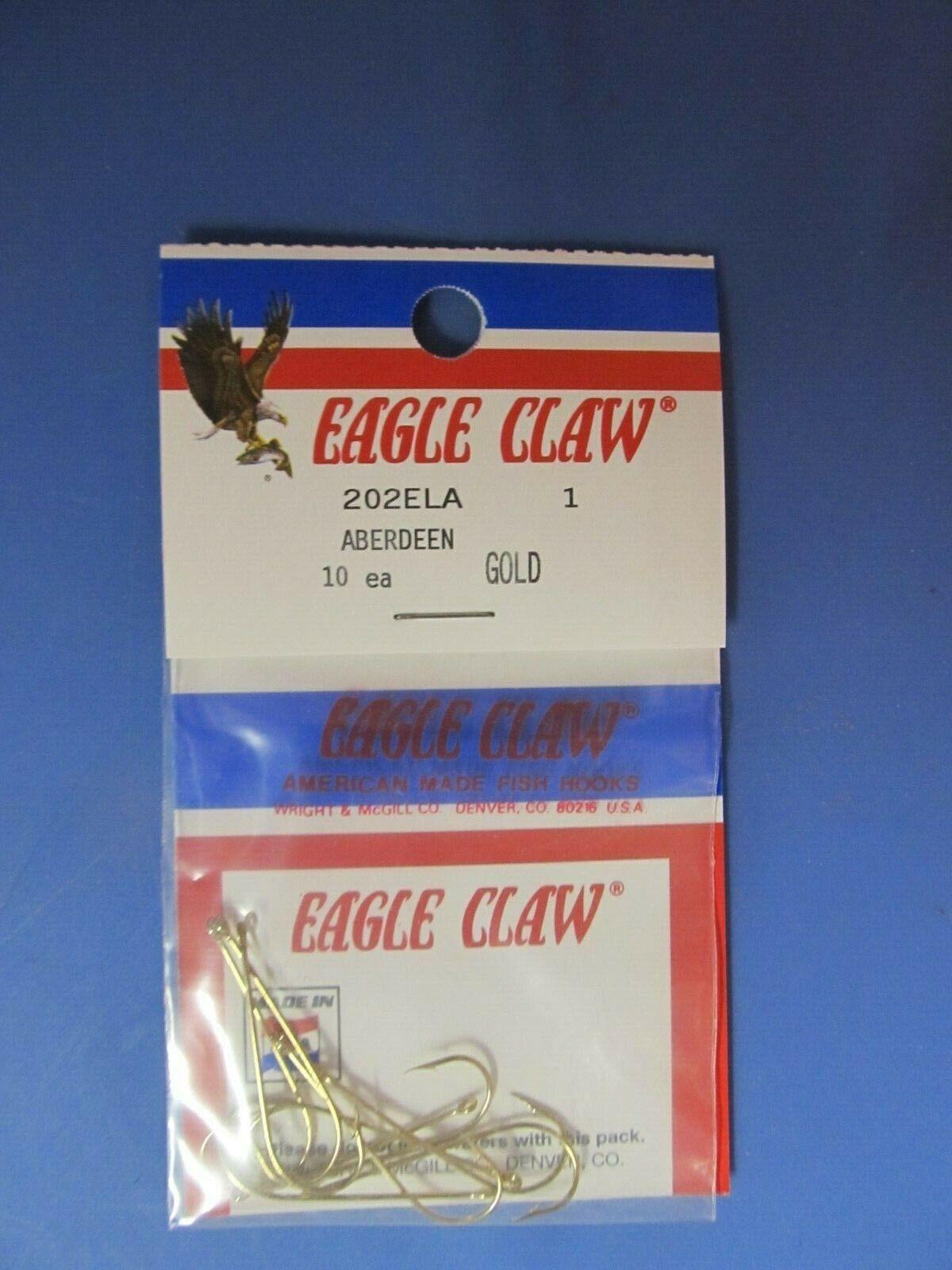 10 Size 2 Eagle Claw 202ELA-2 X-Lt Gold Aberdeen Hooks