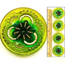 Reduced! 27mm Vintage Czech Glass FLOATING Lime GREEN MIRROR Flower Buttons 4p