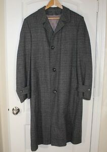 Vtg-MAURICE-L-ROTHSCHILD-Lined-Gray-Mens-Harris-Tweed-Trench-Coat-44-46-Large
