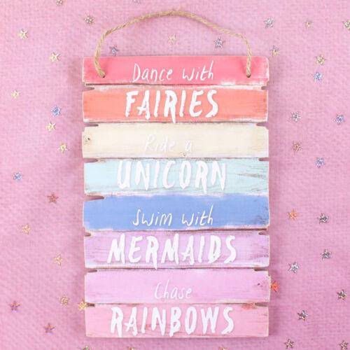 2 WALL PLAQUES ~ DANCE WITH FAIRIES /& HAPPIER THAN A UNICORN~ FAIRY RAINBOW SIGN