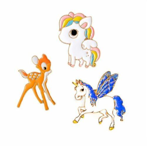 EB0030 Set of 3 Enamel Pin Badges Unicorns and Bambi