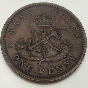 1857-Bank-Upper-Canada-One-1-Penny-Circulated-Canadian-Token-D853
