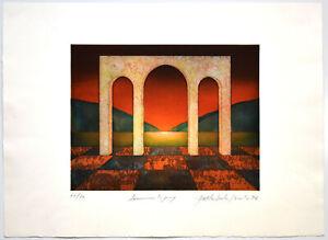 Yoshimitsu-Hirota-tramonto-19-76-con-firma-originale-farbradierung