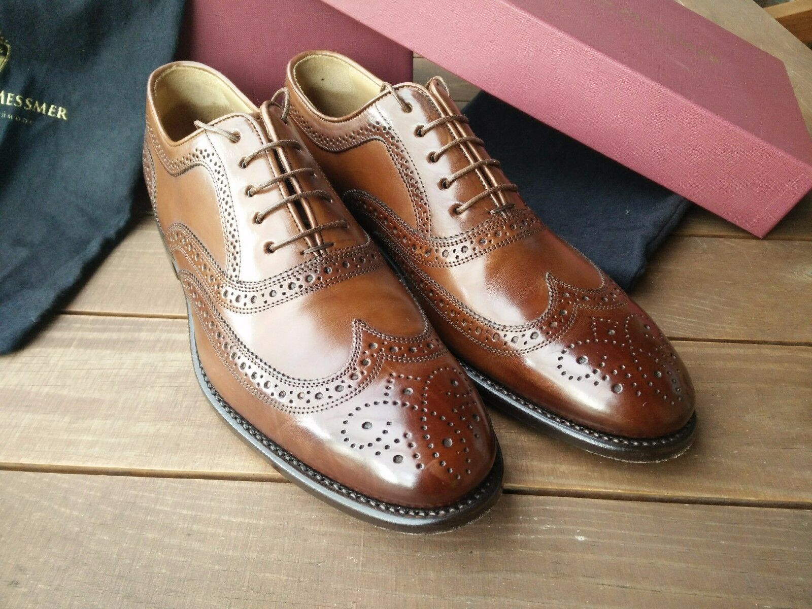 Langer & Messmer Frankfurt Kastanie EUR 41 UK 7,5 Lederschuhe Brogue Oxford    | Neuartiges Design