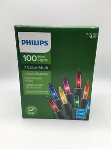 Lot of 4 100 Mini Lights Philips 051042741 Multi colored Holiday Indoor//Outdoor