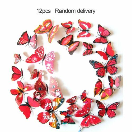 12PCS 3D PVC Magnet Butterfly DIY Wall Sticker Removable Refrigerator #