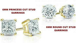 2 Paires 6 mm /& 5 mm Princess Cut Stud Boucles d/'oreille en Diamant 14k or jaune plaqué
