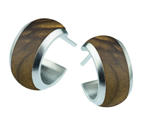 Serio Design pendientes halbcreole acero inoxidable e 316 Silk Wood marrón 7 mm