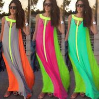 Women Lady Sexy Boho Chiffon Long Dress Evening Party Cocktail Maxi Summer Beach