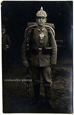 Wk 1, junger Soldat mit voller Ausrüstung, Original-Photo um 1914.