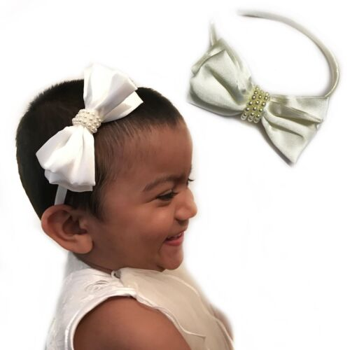 Satin Alice Band Headband Flower Girl Pearl Motif Weddings Hair Bridesmaid Lady