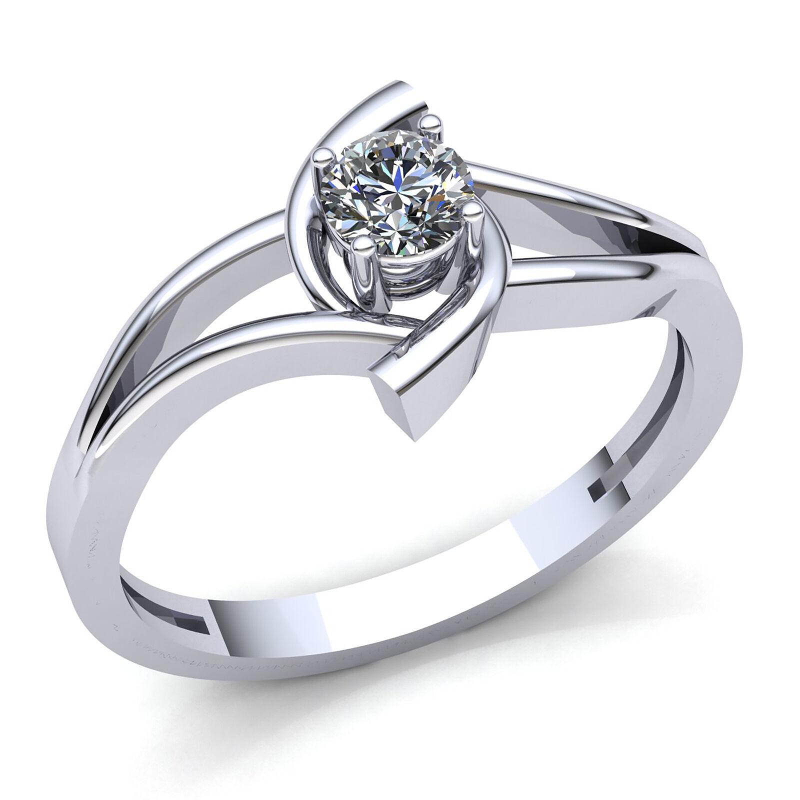0.25ctw Round Brilliant Diamond Ladies Bridal Solitaire Engagement Ring 14K gold