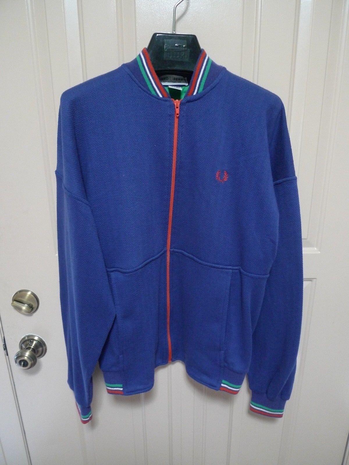 Frot Perry Sportswear-  Full Zip Track Jacket-Knitted-Herringbone Pattern-Large