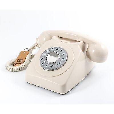 Retro GPO 746 Push Button Dial Telephone Vintage Style Phone  - Ivory Cream