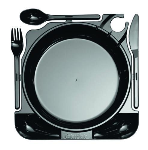 27 x 26 cm Einweg-Cater Plate MILAN inkl 10 Stüc Schwarz Besteck aus Plastik