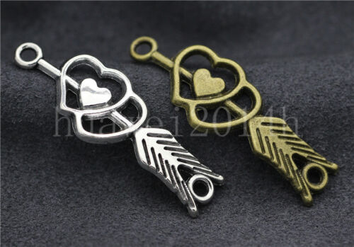 6//20//100pcs Tibetan Silver Double heart arrow Jewelry Charms Connector 39x13mm