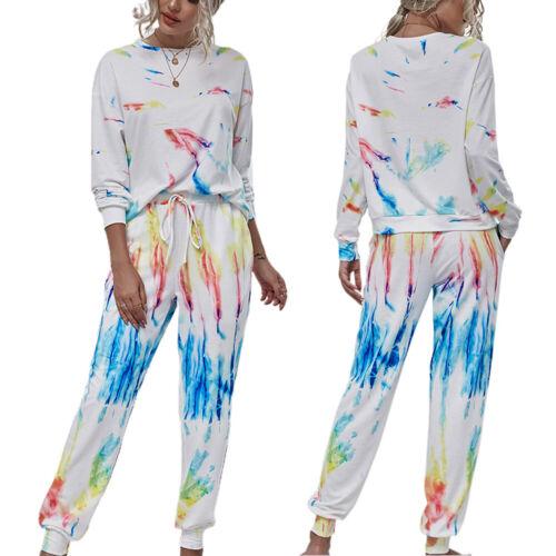 Jogger Pants Sweat Suits Details about  /Womens Tie Dye Tracksuit Set Sweatshirt Pullover Tops