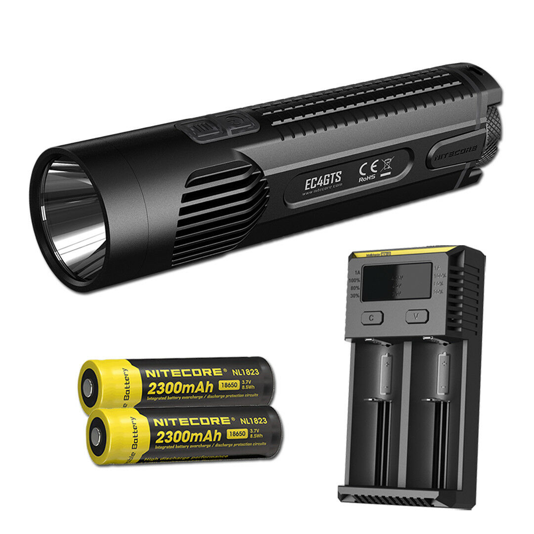 NITECORE EC4GTS 1800 lm Long Throw Search Flashlight with 2x Batteries & Charger