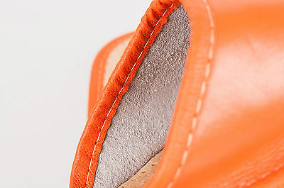 Para Damas/Mujeres 100% Natural De Cuero Zapatillas Tamaño: 3, 4, 5, 6, 7, 8 naranja.