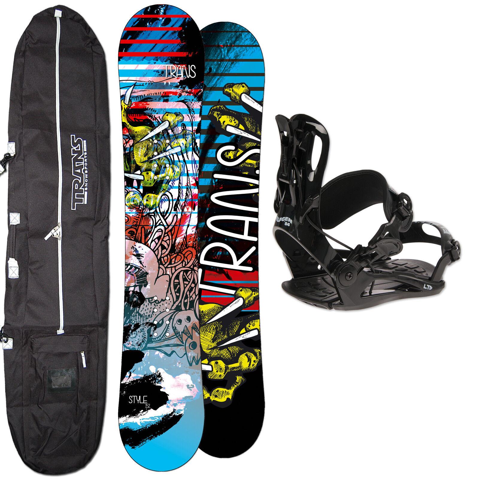 Hombres Snowboard Trans Style 146 cm + Fastec Fijación TALLA M + Bolsa