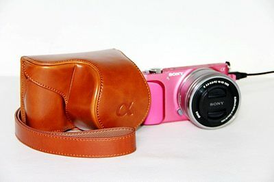 brown leather case bag grip cover for Sony Alpha A5100 A5000 camera 16-50mm lens