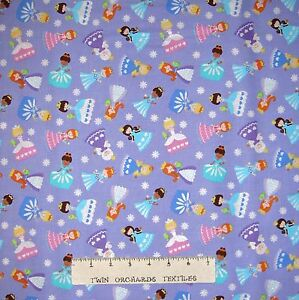 Image Is Loading Baby Nursery Fabric Tossed Princess On Purple Cm3654