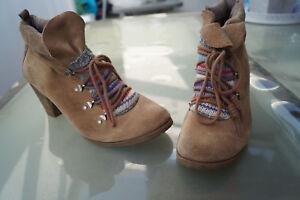 half off 356c1 39b29 Details zu TAMARIS Damen Strick Schuhe Stiefel Stiefelette Absatz Gr.41  Wildleder braun TOP