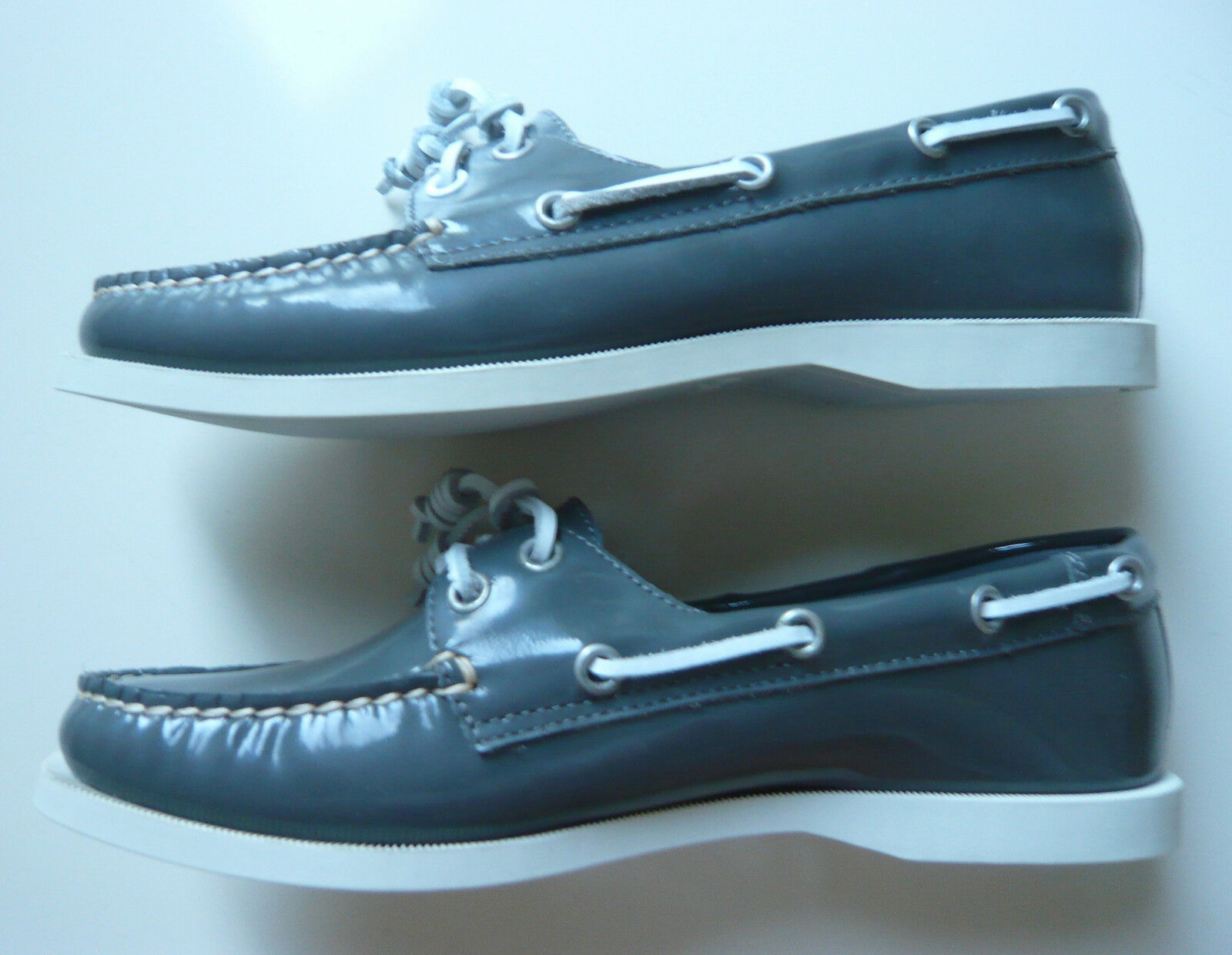 Flip weiss flop Schuhe Damen Leder grau weiss Flip Gr. 38 Lackleder Stiefelschuhe 8fb663