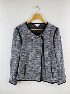 Capture Women's Knit Jacket Size 16 Black Knit Button Up Long Sleeve Zip Pockets