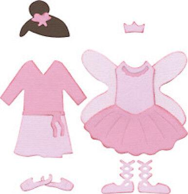 """Quickutz Die 4x4/"""" Paper doll BALLERINA costume die 2 DIES"""