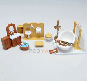 Dollhouse miniatures furniture bedroom kitchen set for for Sylvanian families beauty salon dressing table