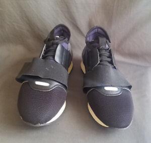3517b604aa3a9 Men's Blue Leather BALENCIAGA Elastic Band Race Runner Sneakers Sz-8 ...