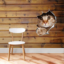 Novelty 3D View Hole Cat Wall Sticker Bathroom Toilet Living Room Decor Stickers
