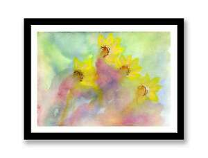 Watercolour-daffodils-Print-of-painting-In-7-034-x-5-034-unique-gift-ID-198