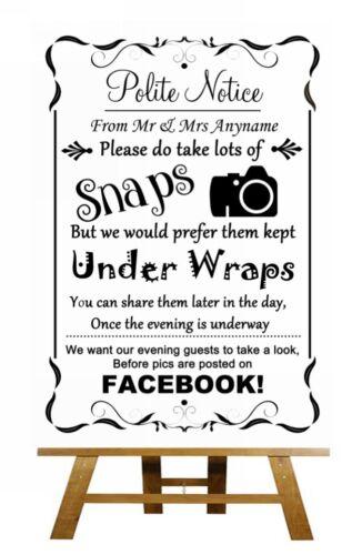 Photos noir et blanc signe de mariage personnalisé facebook Poster