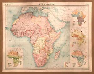 AFRICA Political Vintage Map 1922 by Bartholomew