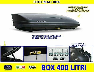 Box tetto auto per FIAT PANDA baule litri nero universale con kit chiavi set