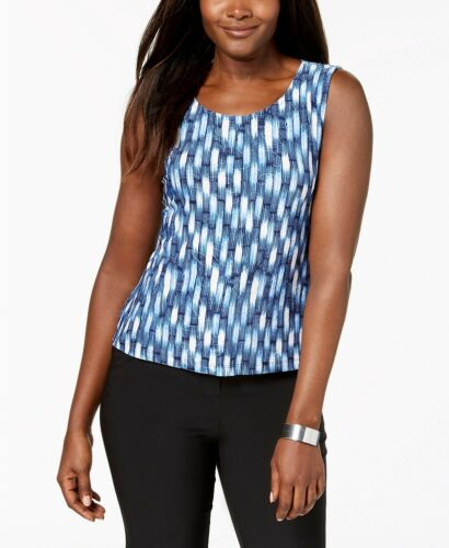 JM COLLECTION Blue Printed Sleeveless Jacquard Texture Tank Top NWT P//L