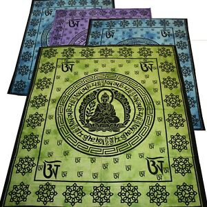 Tagesdecke-BUDDHA-Om-Mani-Padme-Hum-Dekotuch-Mantra-Batik-Baumwolle-Yoga-Decke