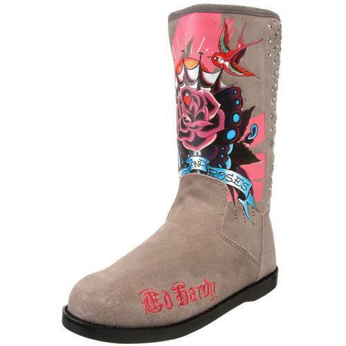 New in Box Ed Hardy Mid high bottestrap bottes Flats chaussures gris Suede Studs Skull
