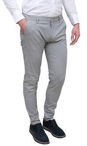 Pantaloni-uomo-casual-grigio-chiaro-estivi-eleganti-slim-fit-42-44-46-48-50-52