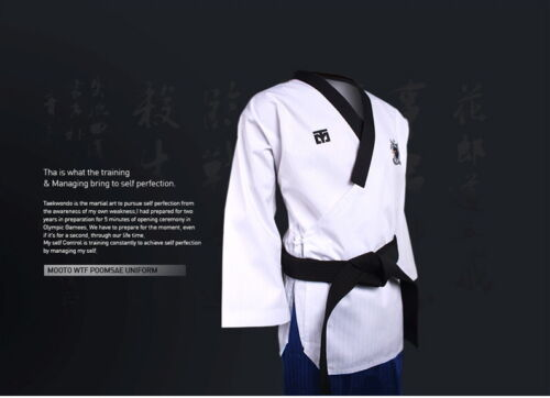 with KUKKIWON Patch Taekwondo Dobok Female MOOTO Poomsae WTF Dan Uniform