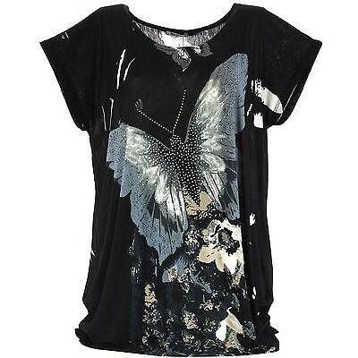 Tunique tee shirt ample Drapé Papillon Noir - THANIA - Charleselie94®