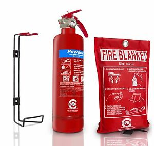 BSi 1 KG POWDER ABC FIRE EXTINGUISHER WITH FIRE BLANKET HOME OFFICE ...