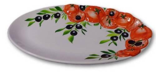 Bassano italiana relief cerámica adueñado plato placa tomate oliveneu