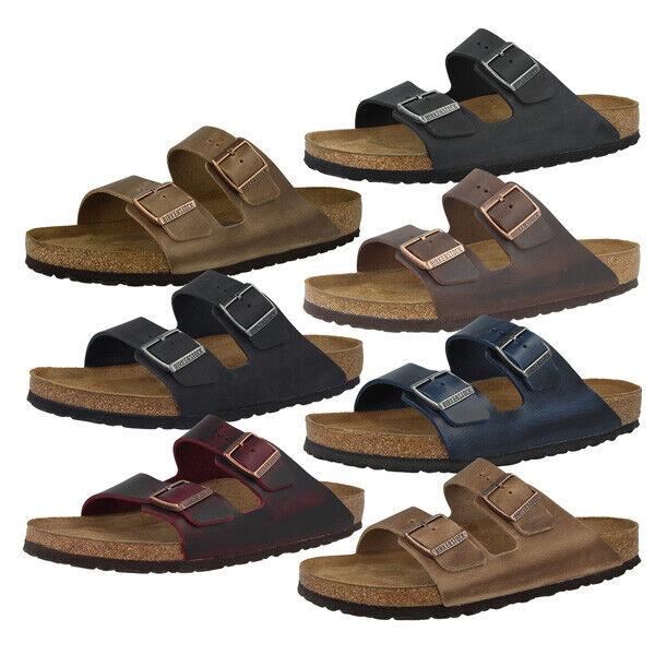 Birkenstock Arizona geöltes Nubukleder Schuhe Weichbettung Sandalen Pantoletten